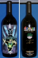 Green Lantern-Blackest Night / Johns etched wine bottle Comic Art